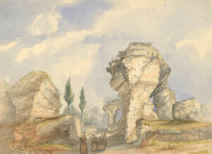 Margaret-Daisy-George-Mid-19th-Century-Watercolour-Monks-by-Ruins