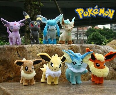 "8Pcs Pokemon Plush Toy 8 Eevee Figures 6.5"" Great Colorful Stuffed Animal Doll"