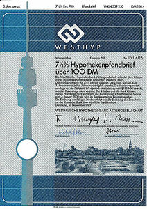 Westfaelische-Hypothekenbank-Dortmund-1989-Bank-DM-Anleihe-Westfalen-Fernsehturm