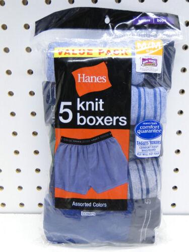 5pr Value Pack Boys Hanes Soft Knit Fabric Boxer Shorts sizes S-XL
