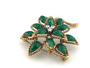 Vintage-Tiffany-amp-Co-18K-Yellow-Gold-amp-Green-Enamel-Diamond-Flower-Brooch-SALE