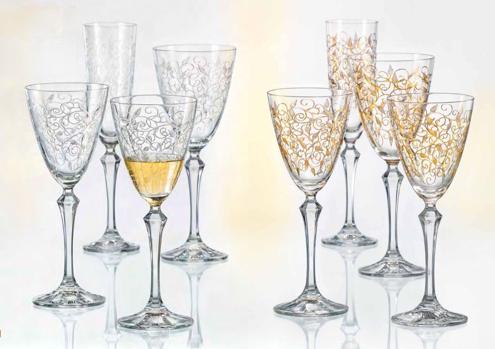 Bohemia Verres, à Champagne, Cristal, Model Leaves, or, Clear, 6er Set
