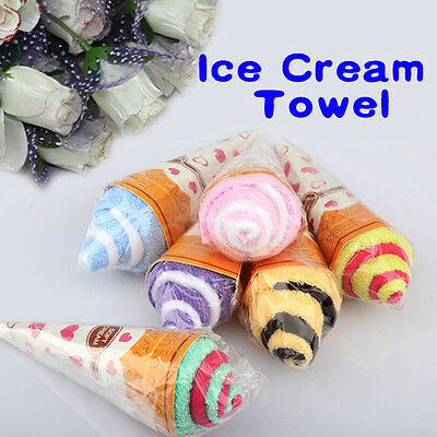 Double Color Ice Cream Shaped Towel Cute Soft Hand Washing Accessory Gift New