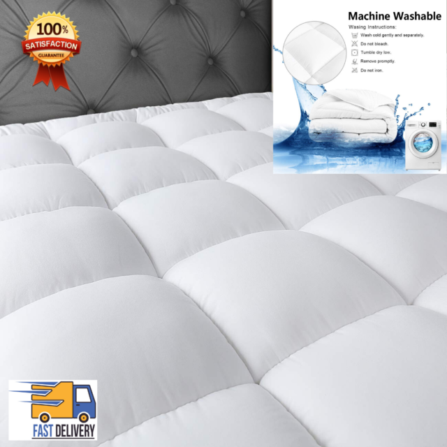 MASVIS California King Waterproof Mattress Pad Cover Stretches up 8-21 Deep Pocket Hypoallergenic Fitted Quilted Cooling Mattress Protector