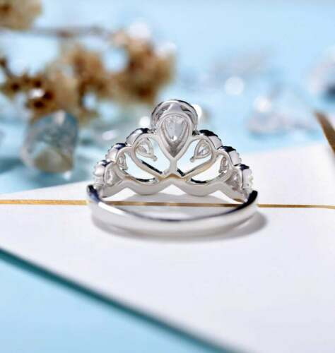 Vintage Delicate Pear Cut Diamond Crown Wedding Bridal Ring 14K White Gold Over