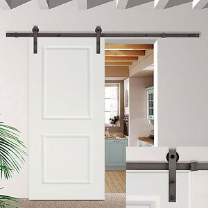 Details About 6 6ft Dark Coffee Sliding Barn Door Hardware Set W 30 Wide White Wood Slab