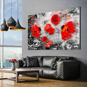 klatschmohn blumen abstrakt bilder leinwand bild wandbilder kunstdrucke poster ebay. Black Bedroom Furniture Sets. Home Design Ideas