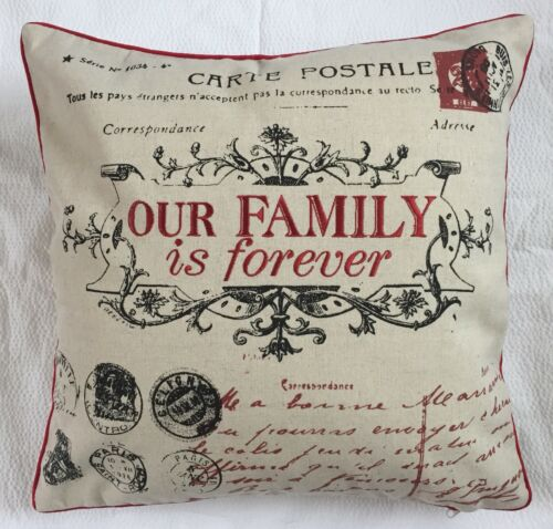 45x45cm 1 Red cream /& black polyester//linen blend embroidered text