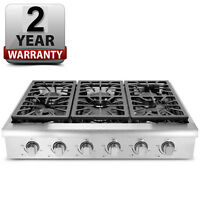 Pro-style 36 Thor Kitchen Stainless Hrt3618u Gas Cooktop Rangetop, Six Burners