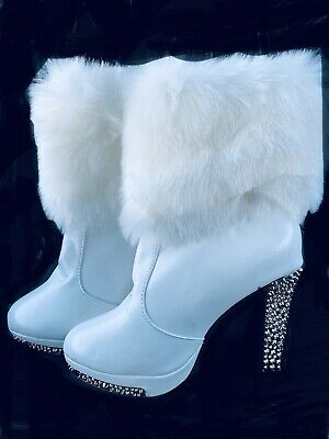 White Furry Faux Fur Pull On Sexy Boots