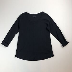 Soft-Surroundings-L-S-Light-Black-Knit-Top-Shirt-w-Folded-Wrist-Cuffs-Sz-L