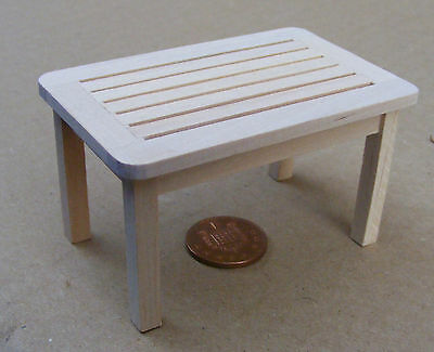 1:12 Scale Natural Finish Wooden Patio Table Dolls House Garden Accessory