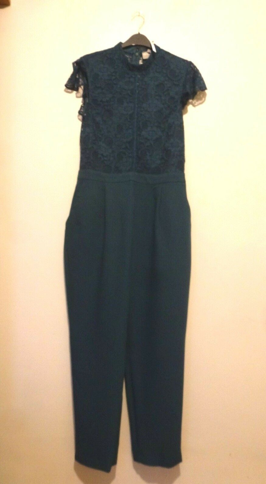 ASOS Lace Top Jumpsuit with Flutter Sleeves Size 10 or 14 BNWT RRP  Teal