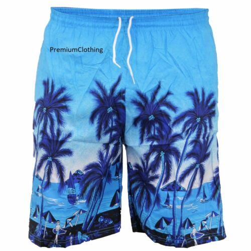Mens Hawaiian Swimming Shorts Beach swim Palm Multi Pockets Sports Mesh Trunks