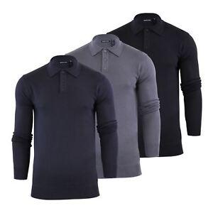 Brave-Soul-Patte-De-Boutonnage-Homme-Tricot-Polo-T-Shirt-a-Col-Pull