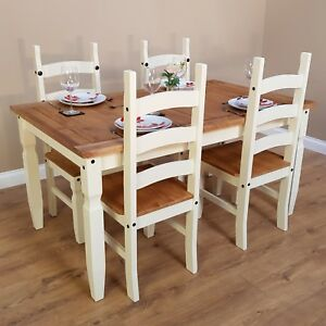 Corona Cream 5 0 Dining Table 4 Chairs Set Painted By Mercers