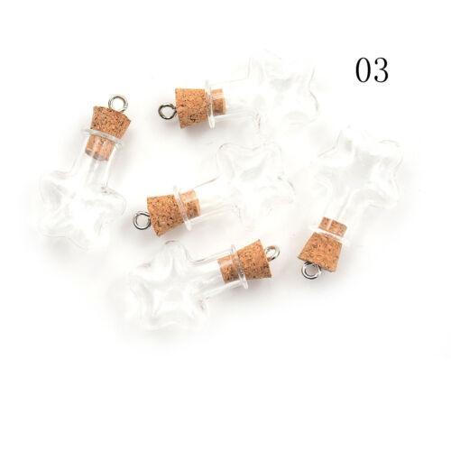 5pcs Mini Glass Bottles Cork Potion Vials Charms Necklace Pendant DIY SP