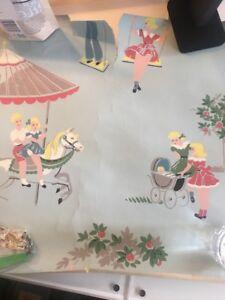 Vintage-1940-Wallpaper-Children-At-Play-Aqua-Pink-Yellow-Pieces-Craft