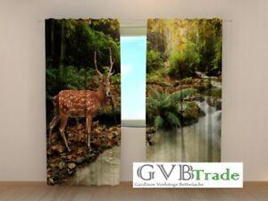"""Home & Garden Curtains, Drapes & Valances Hospitable Fotogardinen """"deer"""" Fotovorhang Vorhang Gardinen 3d Qualität Fotodruck And To Have A Long Life."""