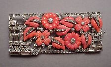 1930s Art Deco Rhinestone Faux Coral Jello Mold Carved Fruit Plaque Brooch - TKF