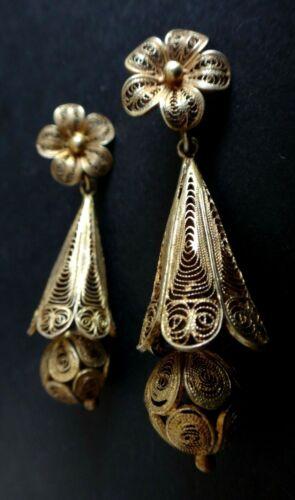 Paire de boucles d'oreilles filigrannés Old oriental golden earrings filigree