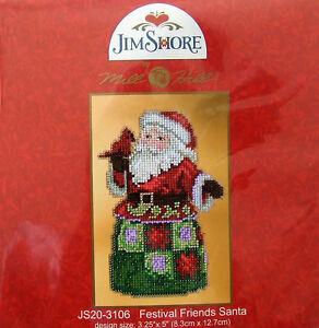 Mill-Hill-Cross-Stitch-Bead-Kit-039-Festival-Friends-Santa-039-by-Jim-Shore-20-3106
