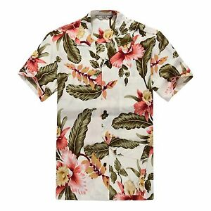 Men-Hawaiian-Shirt-Cruise-Tropical-Luau-Beach-Aloha-Hawaii-Casual-Cream-Floral