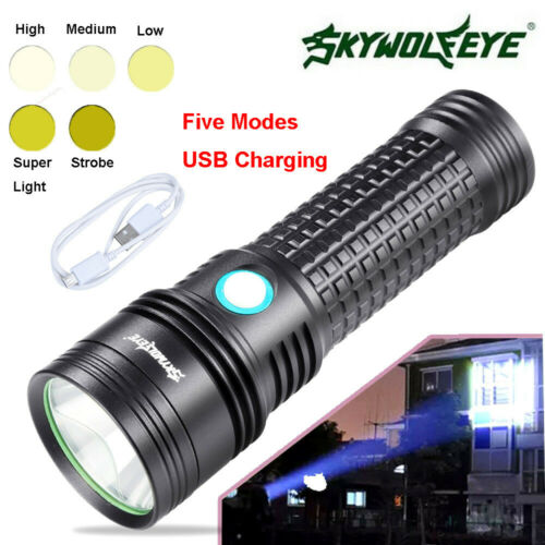 Super Bright Flashlight L2 LED Tactical Zoomable USB Rechargeable 5 Modes Torch