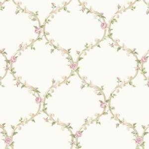 Image Is Loading Wallpaper Cottage White And Cream Elegant Pink Rose