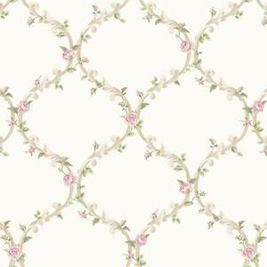 Wallpaper-Cottage-White-and-Cream-Elegant-Pink-Rose-Victorian-Trellis