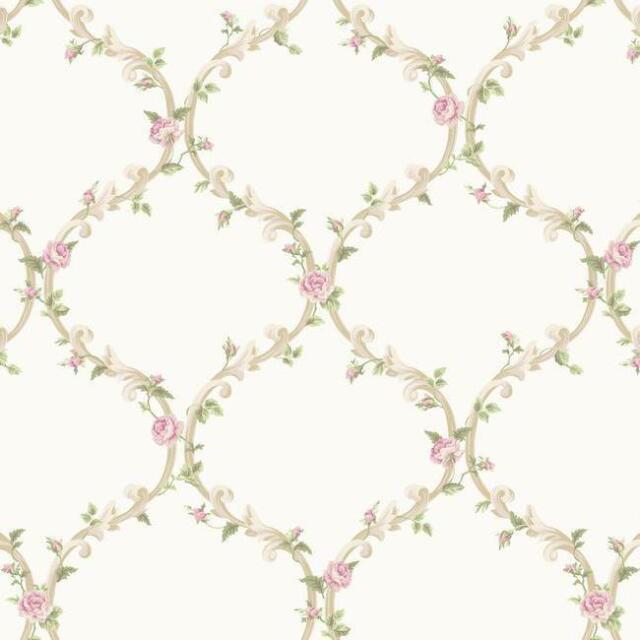 Wallpaper Cottage White and Cream Elegant Pink Rose Victorian Trellis