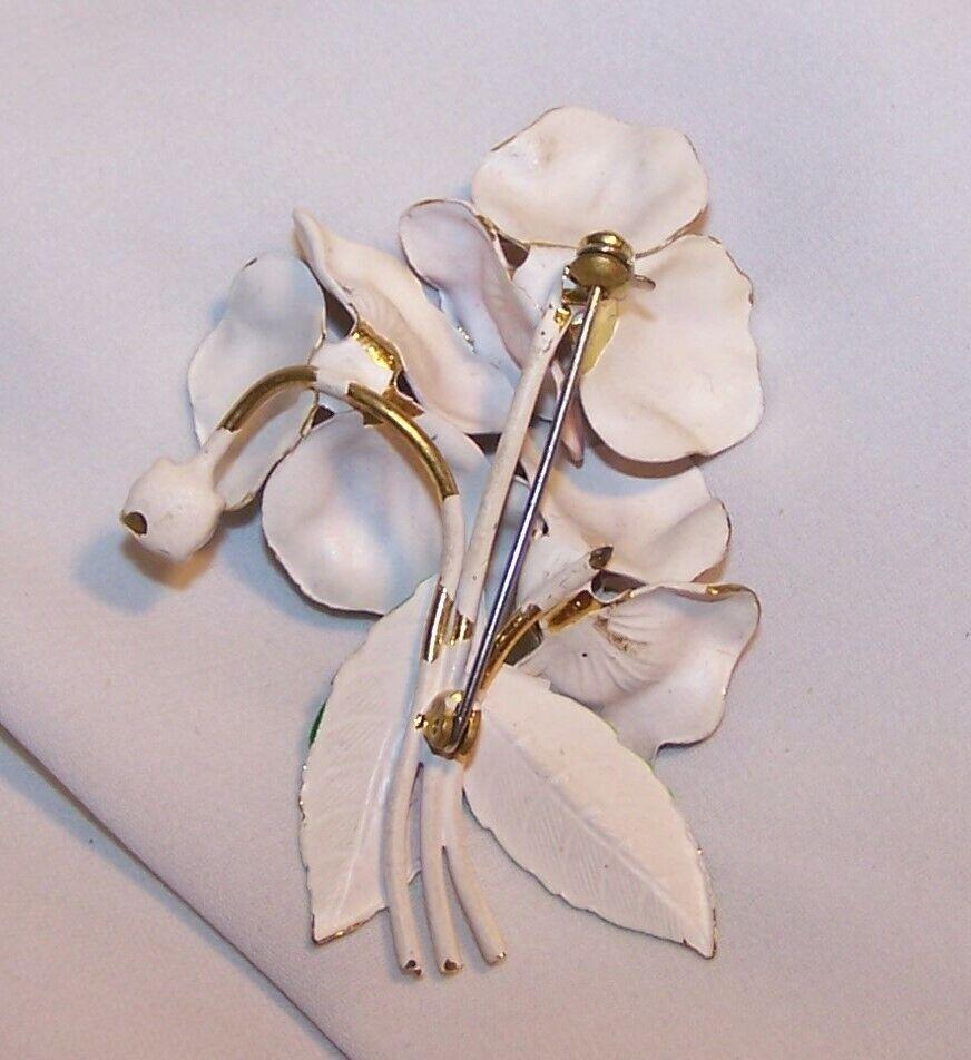 Vintage Enamel Rhinestone Flower Pin/Brooch-Pansy… - image 2