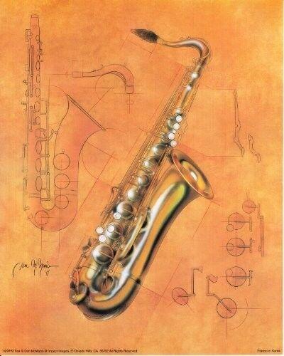Fine Arts Music Instrument Saxophone Kids Room Wall Decor Art Print Poster 16x20