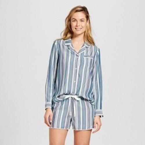 Gilligan /& O/'Malley Pajama Set 2 Piece Long Sleeve Top Shorts Striped XXL