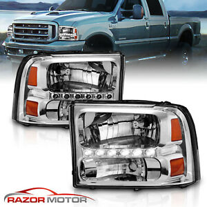 1999-2004 Chrome Headlight for Ford F250/F350 Superduty Excursion [LED DRL]