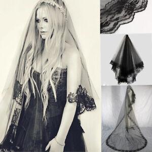 Image Is Loading Bridal Gothic Wedding Veil Black Rose Punk