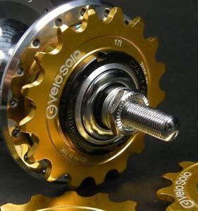 VeloSolo-UK-MADE-1-8-034-CNC-FIXED-TRACK-COG-GOLD-15-16-17-18-19-sprocket-fixie