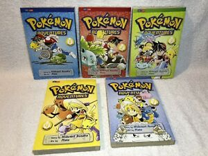 Lot-Of-5-Pokemon-Adventures-Manga-Volumes-1-4-amp-7-By-Perfect-Square-Pikachu