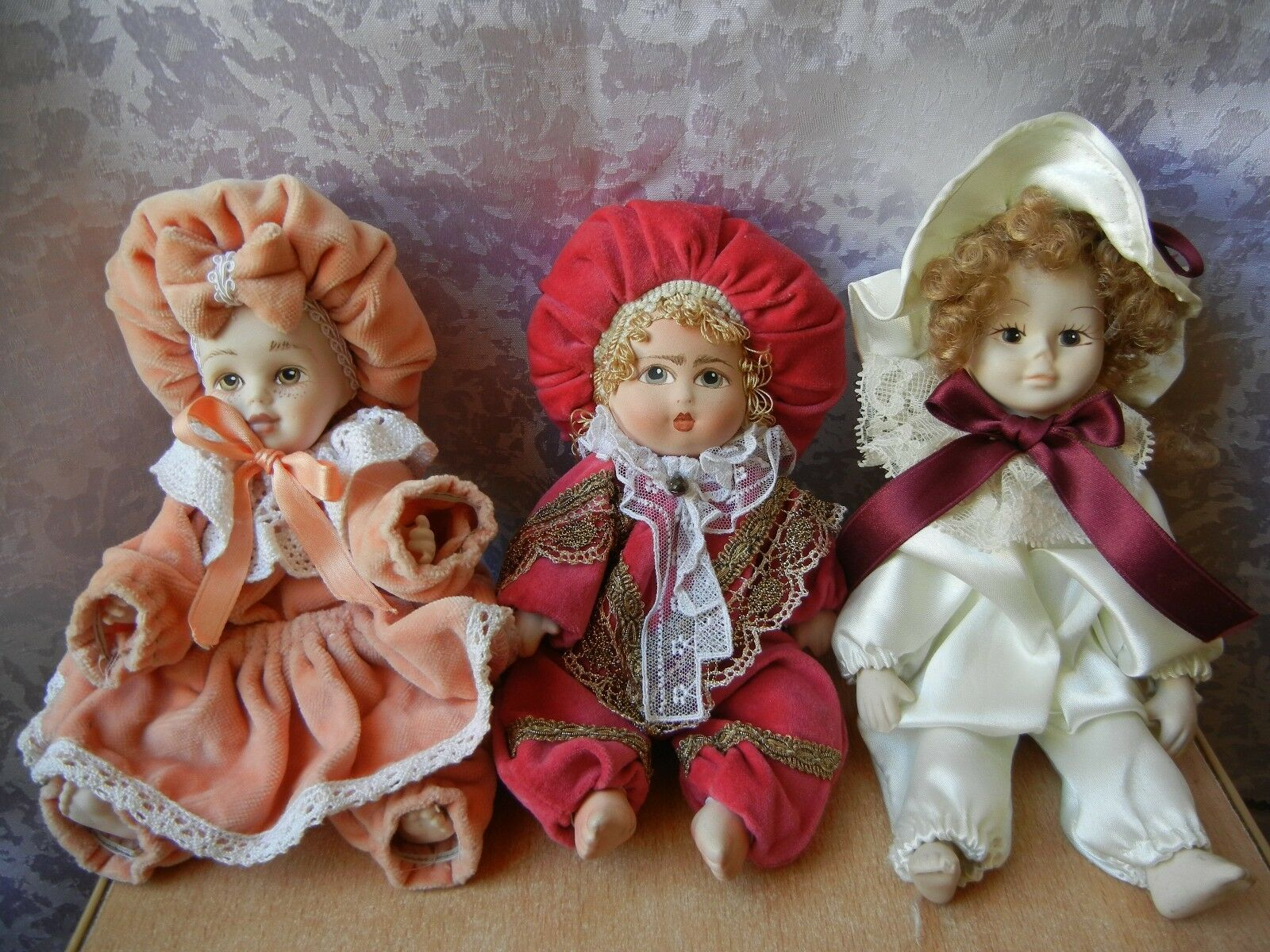 SET 3 COLLECTION PORCELAIN VICTORIAN DOLL BEAUTIFUL Toy
