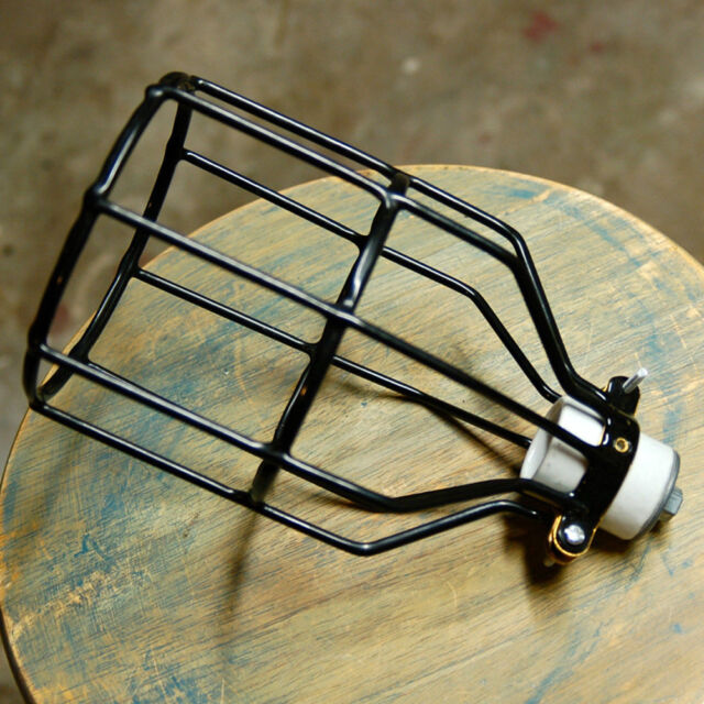 Black Bulb Guard, Clamp On Metal Lamp Cage,for Vintage Trouble Lights Industrial