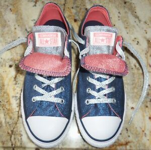 Details about NEW CONVERSE ALL STAR DOUBLE TONGUE 658112F NAVY PINK SHINE YOUTH SNEAKERS SZ 5