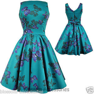 RKL6-Lady-Vintage-Hepburn-Teal-Green-Butterfly-50s-Swing-Retro-Rockabilly-Dress