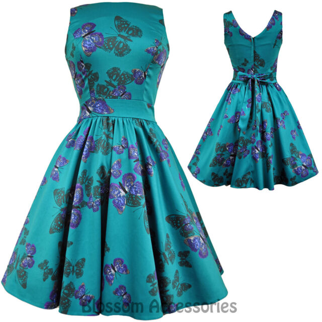 RKL6 Lady Vintage Hepburn Teal Green Butterfly 50s Swing Retro Rockabilly Dress