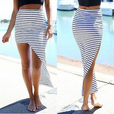 Boho Women Summer Chiffon Stripe Short Mini Dress Skirt High Waist Beach Dress