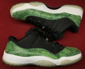 bae98a39a0 Jordan Retro XI 11 Low Nightshade Green Snakeskin Black 528895-033 ...