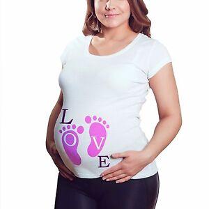 82e544d6255ea Love Babies Feet Maternity T Shirt Pregnant Ladies Top Tshirt Mum To ...