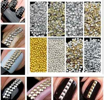 1000x Fashion 3D design Metallic Studs Gold & Silver Stud Nail Art DIY Manicure