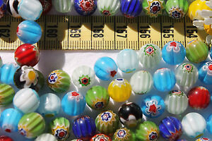 10mm Round Handmade Millefiori Single Flower Mixed Color Glass Beads/35 beads