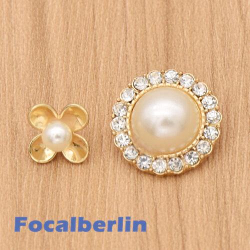 Knöpfe Vintage Blume Stras Künstliche Perlen Kleidung Deko Nähen DIY Chic 5x//10x