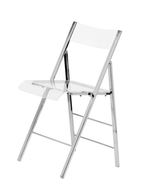 Set Of 2 Clear Modern Plastic Acrylic Lucite Folding Chair Chrome Metal Frame